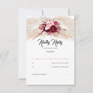 Pampas Grass Burgundy Red Chic Wedding RSVP