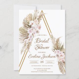 Pampas Grass Dried Palm Dusty Rose Gold Bridal  Invitation