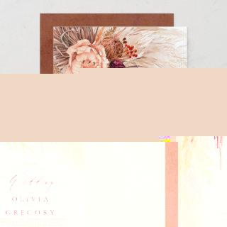 Pampas Grass Floral Burgundy Terracotta Wedding Invitations