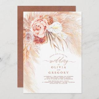 Pampas Grass Floral Terracotta Wedding Invitation