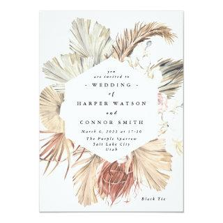 Pampas Grass Floral Tropical Jungle Invitations
