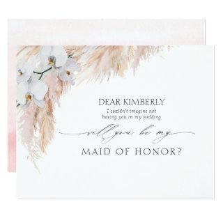 Pampas Grass Maid of Honor / Bridesmaid Proposal Invitations