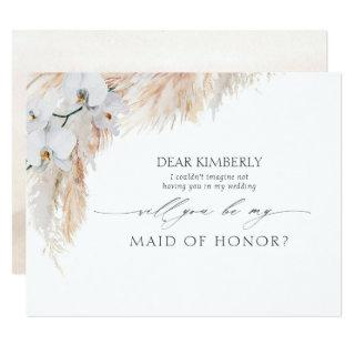 Pampas Grass Maid of Honor / Bridesmaid Proposal Invitation