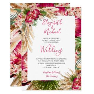 Pampas Grass Protea Floral Modern Pink Wedding Invitation