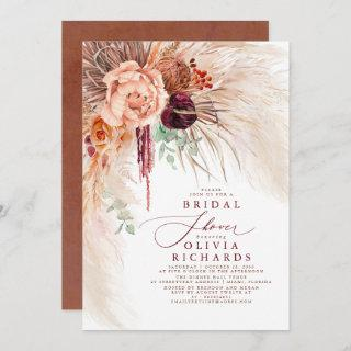 Pampas Grass Terracotta Floral Bridal Shower Invitations