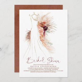 Pampas Grass Wedding Gown Terracotta Bridal Shower Invitations