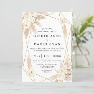 Pampas Grass White Floral Gold All In One Wedding Invitations