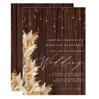 Pampas Grass Wood Twinkle Lights Boho Wedding Invitations