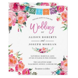 Papel Picado Bloom Flowers Mexican Style Wedding Invitations