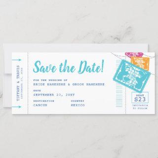 Papel Picado Boarding Pass Save the Date Card
