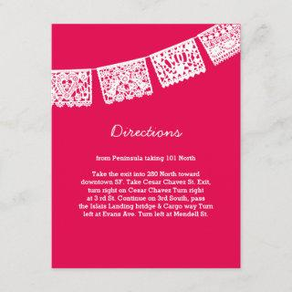 Papel Picado Hot Pink | Wedding Directions Card