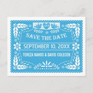 Papel picado love birds blue wedding Save the Date Announcement Postcard