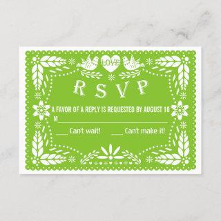 Papel picado love birds green wedding RSVP reply