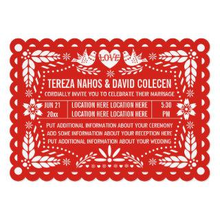 Papel picado love birds red Mexican fiesta wedding Invitation