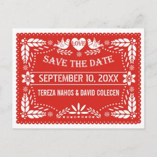 Papel picado love birds red wedding Save the Date Announcement Postcard