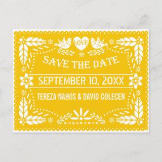 Papel picado modern yellow wedding Save the Date Announcement Postcard