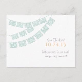 Papel Picado Save the Date Mint green Announcement Postcard
