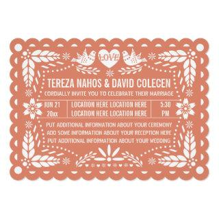 Papel picado style love birds peach fiesta wedding invitation