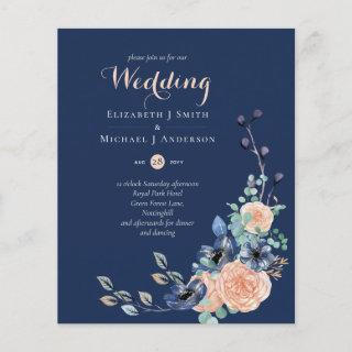 Paradise Navy Coral Floral Wedding Invitations