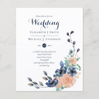 Paradise Navy Coral Floral Wedding Invites Budget