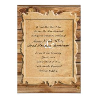 Parchment Wood Rustic Country Wedding Invitations