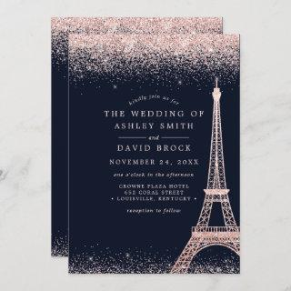 Paris Eiffel Tower Rose Gold Confetti Navy Wedding Invitations