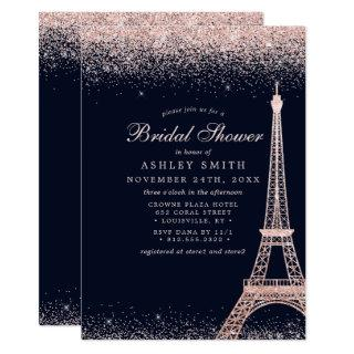 Paris Eiffel Tower Rose Gold Sparkle Bridal Shower Invitation