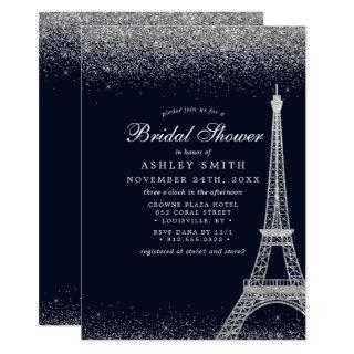 Paris Eiffel Tower Silver Sparkle Bridal Shower Invitation
