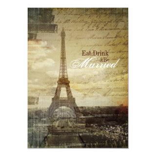 Paris Eiffel Tower Wedding Rehearsal Dinner Invitation