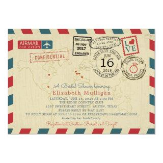 Paris France World Traveler Airmail Bridal Shower Invitations