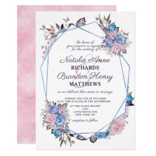 Parisian Charm Blue & Pink Geometric Wedding Invitations
