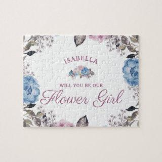 Parisian Charm Floral Be Our Flower Girl Proposal Jigsaw Puzzle