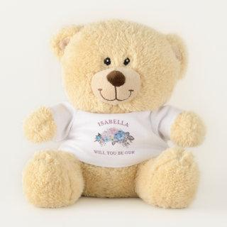 Parisian Charm Floral Be Our Flower Girl Proposal Teddy Bear