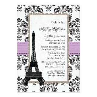 Parisian Lilac and Black Bridal Shower Invitations