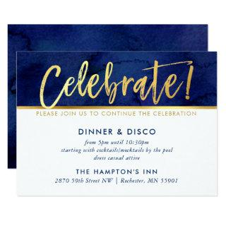 PARTY CELEBRATION CARD blue watercolor gold type
