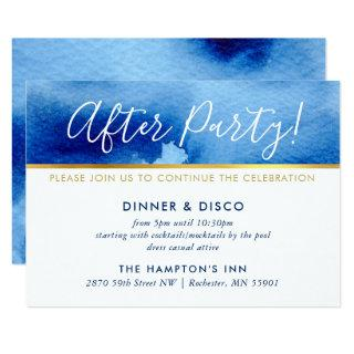 PARTY CELEBRATION CARD gold smart blue watercolor