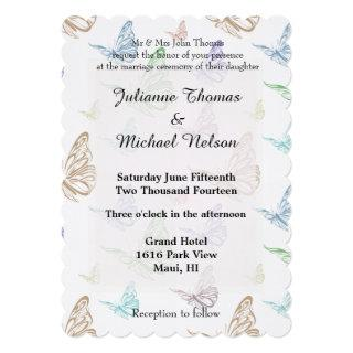 Pastel Butterflies Wedding Invitation