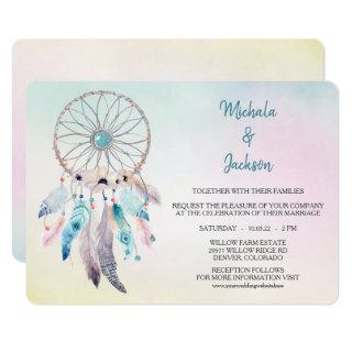 Pastel Colors Dreamcatcher Wedding Invitations