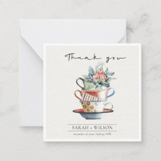 Pastel Elegant Stacked Cups Floral Thank You Card
