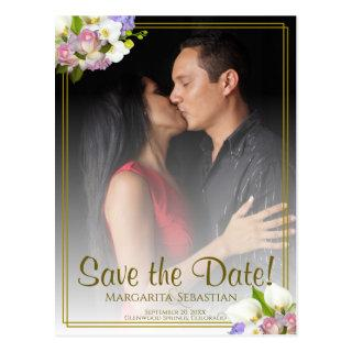 Pastel Floral Gold Frame Wedding Save the Date Postcard