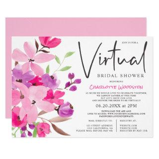 Pastel floral watercolor virtual bridal shower Invitations