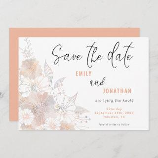 Pastel Florals Wedding Coral Save The Date