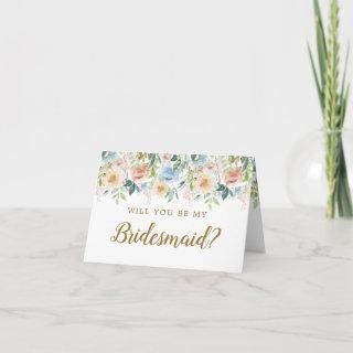 Pastel Garden Floral Will You Be My Bridesmaid Invitation