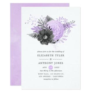 Pastel Lilac and Charcoal Floral Wedding Invitation