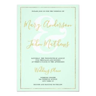 Pastel mint green chic gold foil border wedding invitation
