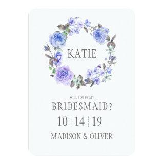 Pastel Purple Watercolor Floral  | Bridesmaid Invitations