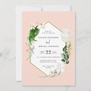 Pastel tropical+ gold geometric wedding Invitations