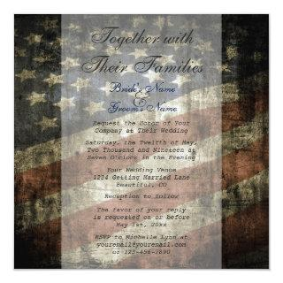 Patriotic American Flag Wedding Invitations w/ RSVP