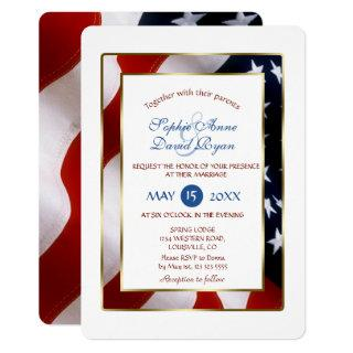 Patriotic, Elegant USA Flag Gold Frame Wedding Invitations