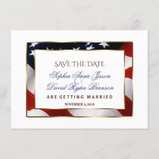 Patriotic, Elegant USA Flag Gold Save The Date